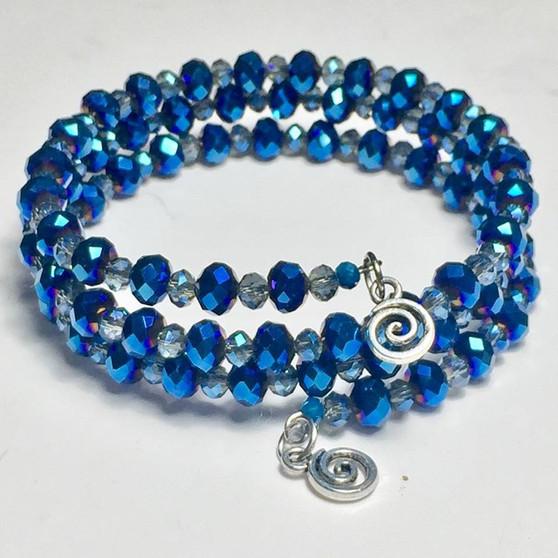Stunning blue small crystals wrap bracelet