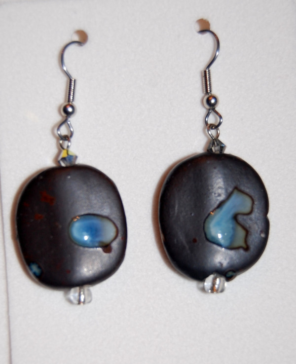 brown semi precious stone drop necklace set
