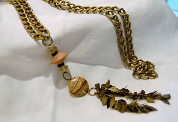 Antique Gold Semi Precious Stone Long Necklace