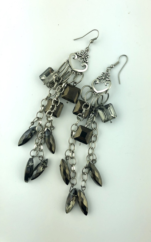 Extra Long Silver and Dark Crystals Earrings