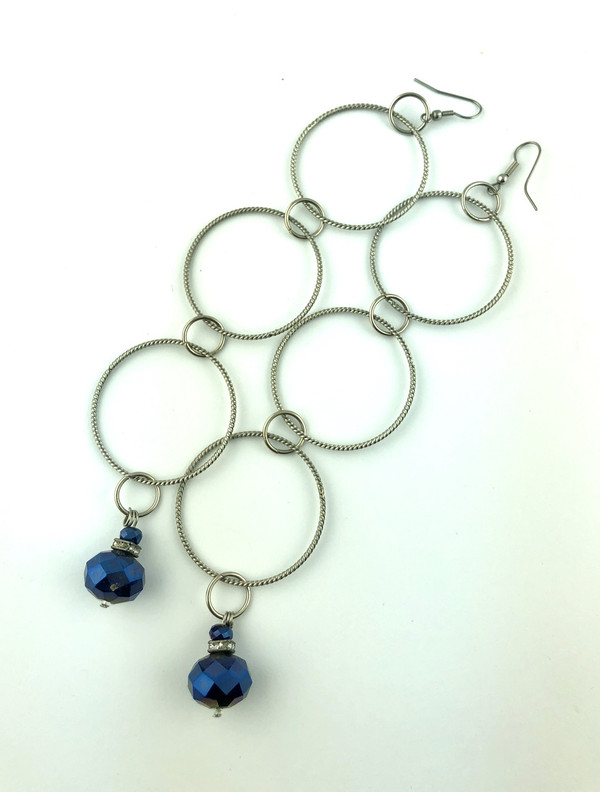 Extra long loop earrings with Blue Crystal drops