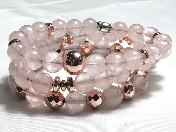 Rose Quartz and Rose Gold plated Hematite bracelet