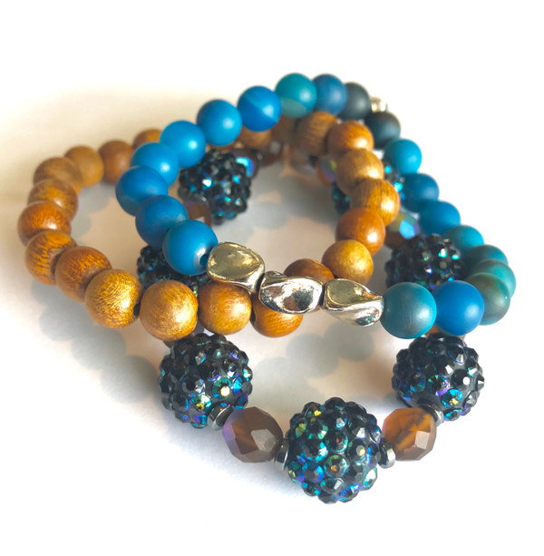 Turquoise and Wood with Crystals Bracelet set