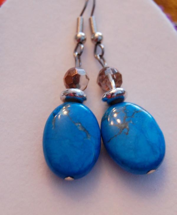 Turquoise semi-precious stone drop earrings
