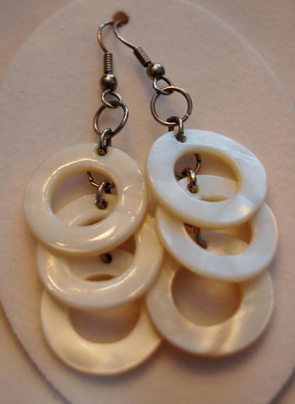 white bone circles drop earrings