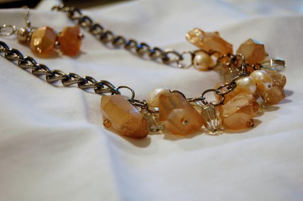 Gorgeous Peach Quartz Cluster Necklace Set