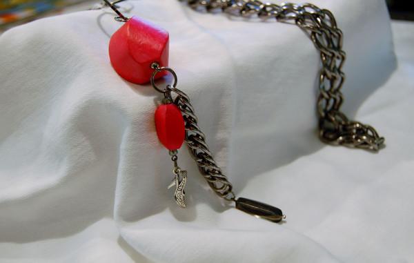 Reddish Orange Wood Bead Long Necklace
