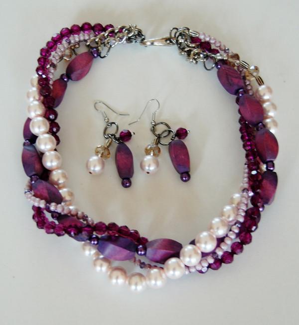 Purples twist necklace set
