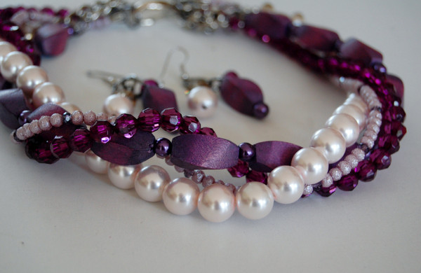 Purples twist necklace set