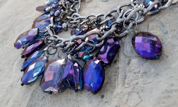 Purple Crystal Cluster Necklace set