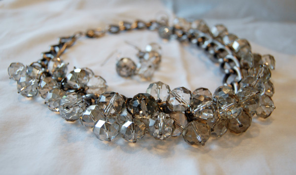 Clear Crystal Cluster Necklace Set