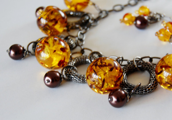 Amber Coloured Beads with Mesh Loops