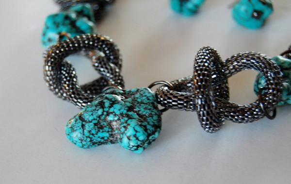 Turquoise Rock with Gun Metal Mesh Loops