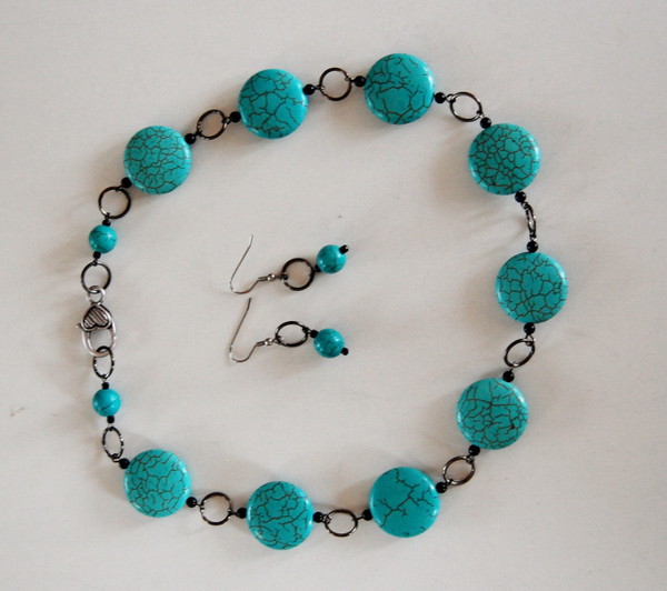 Turquoise Circles Necklace set