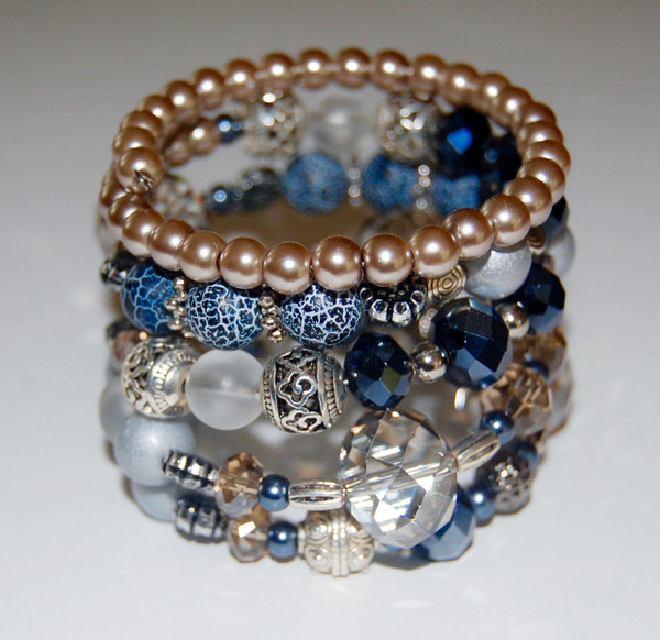 Blues and Crystals wrap bracelet