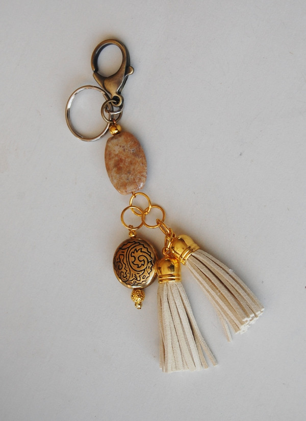 Natural coloured Semi-precious stone and gold Keychain