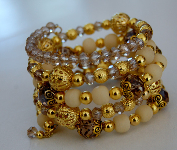 Gold and Beige beads with crystals wrap bracelet