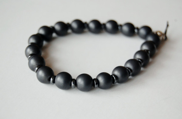 8mm Titanium Plated Hematite with Natural Hematite Spacers Bracelet