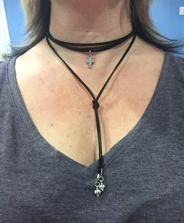 Suede Wrap Choker with Rhinestone Cross