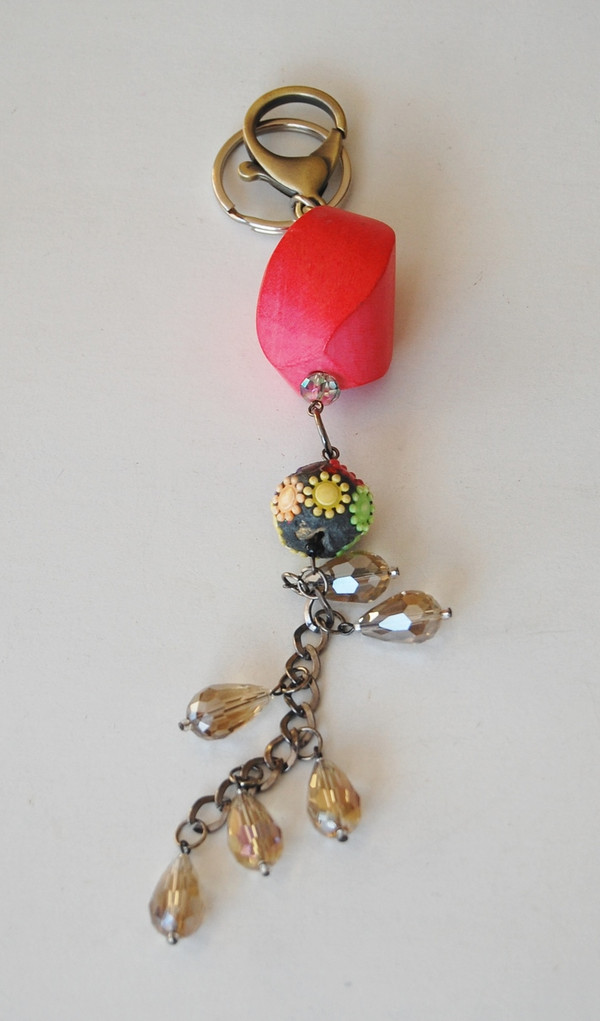 Coral Wood with Floral Bead and Crystal Drops Keychain