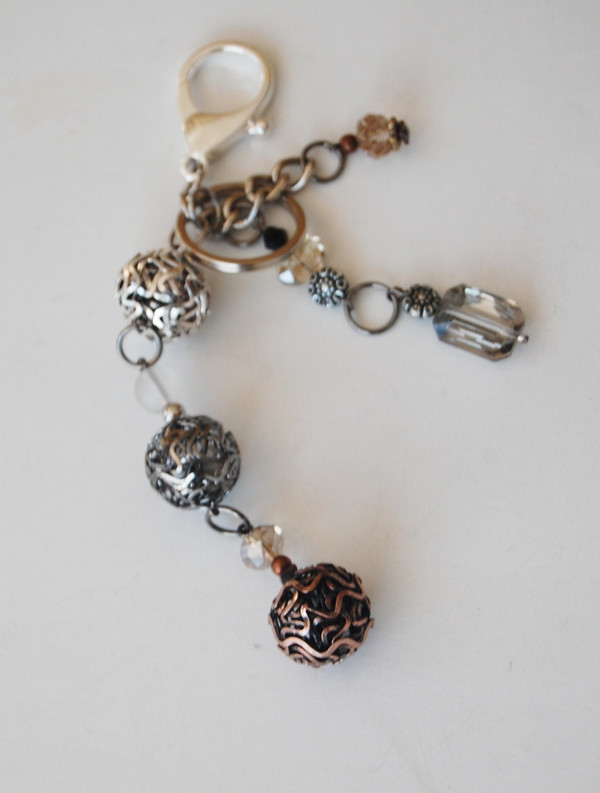 Silver Mesh and Crystals Keychain