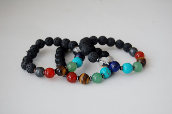 "Men's ""Balance Your 7 Chakras"" Healing Bracelet with Lava Stone"