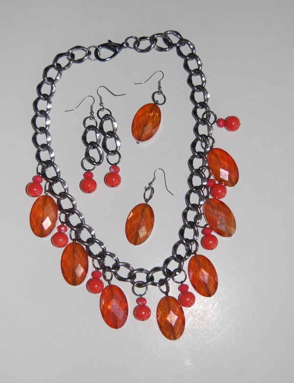 Orange Crystals Drop Necklace Set with 2 Pairs of Earrings