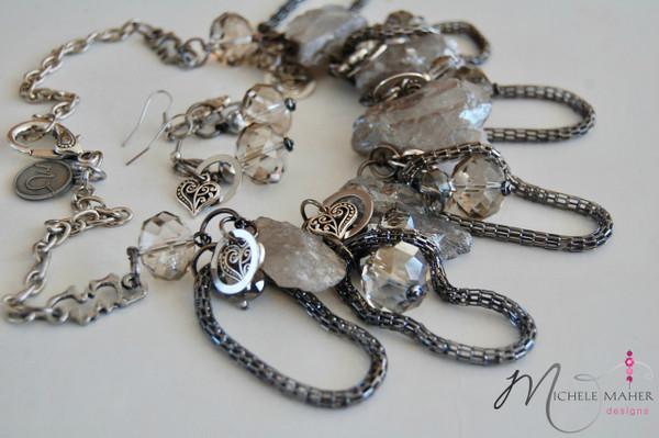 Smoky Crystal Quartz Necklace Set