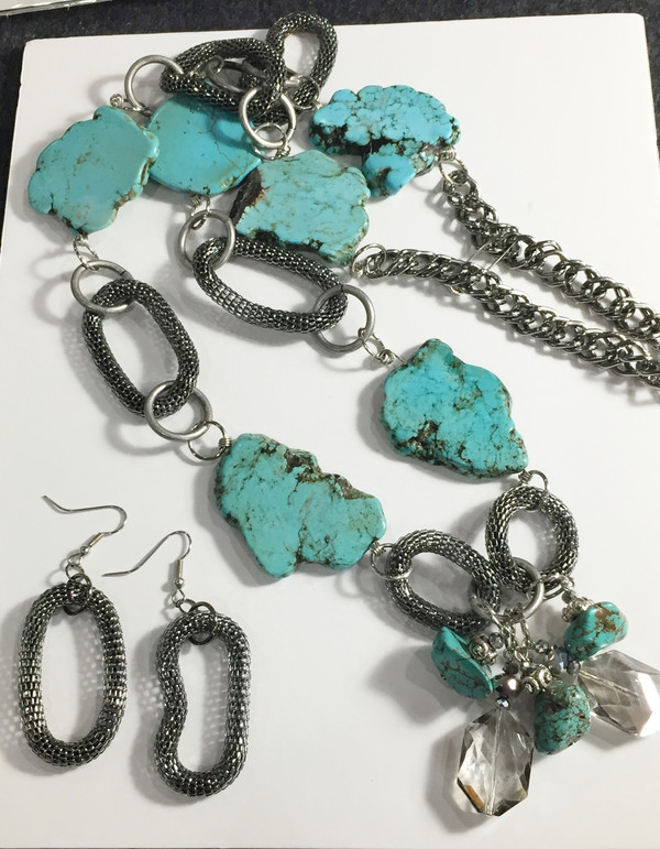 Long Turquoise Necklace set