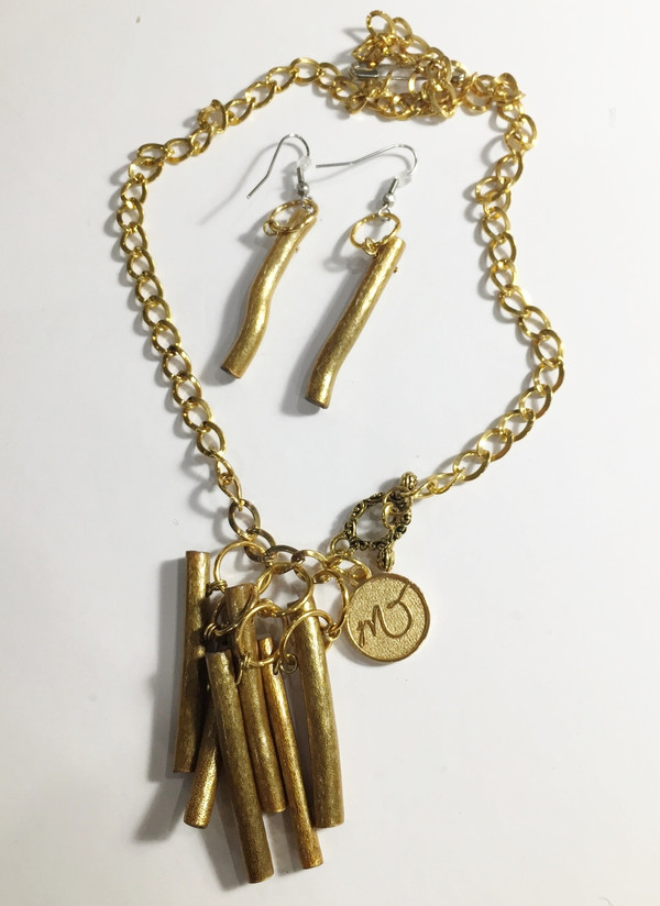 Gold Sea Bamboo Necklace set