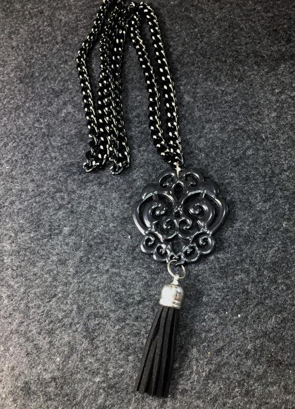 Black Scroll Filigree necklace