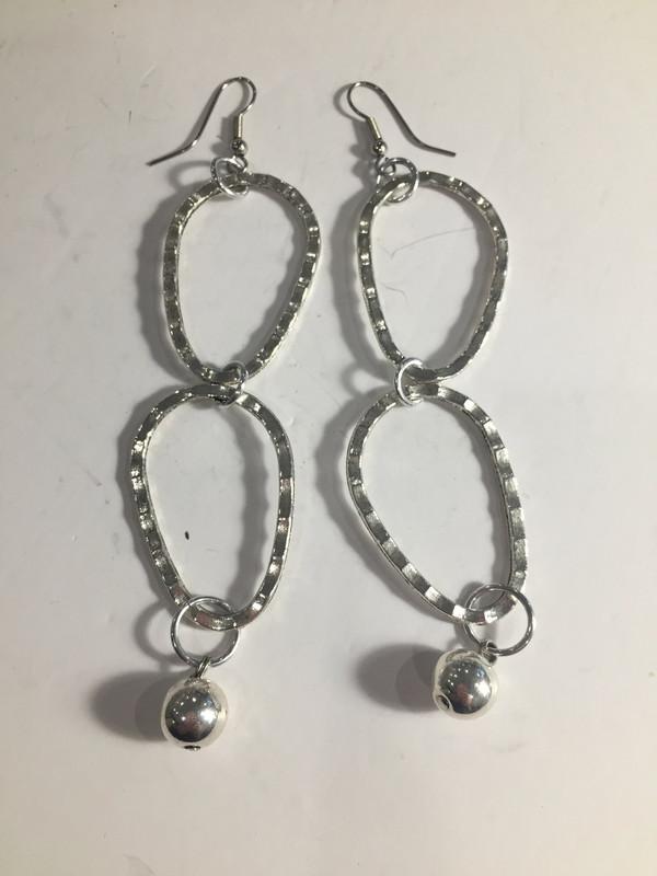 Silver Oblong Loops earrings