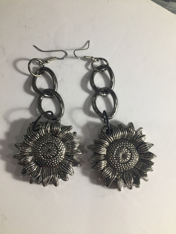Sunflower Gun Metal drop earrings