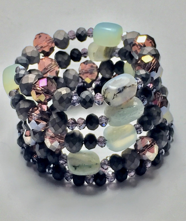 SemiPrecious Gemstones, Hematite, and Crystals WrapBracelet