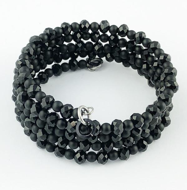 Black Tiny Crystals Wrap Bracelet