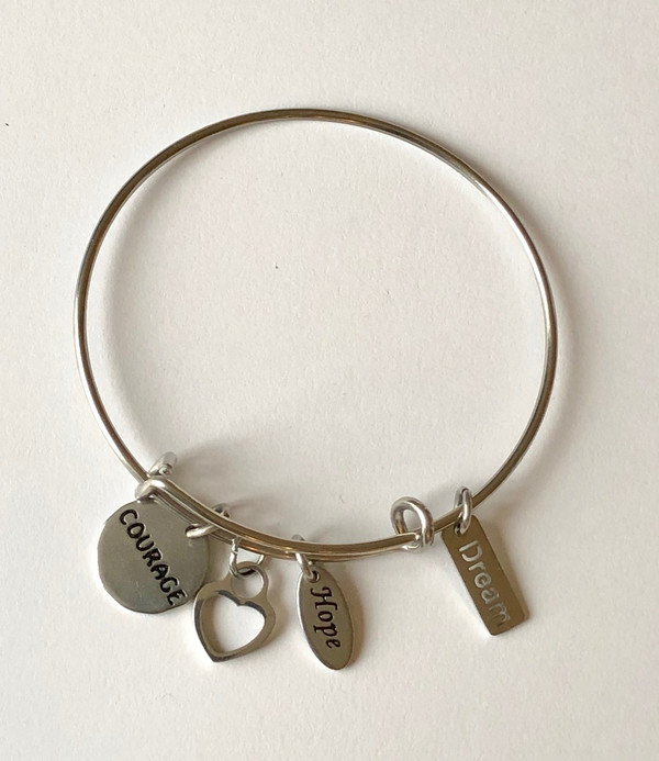 Courage, Heart, Hope and Dream Stainless Steel Bangle