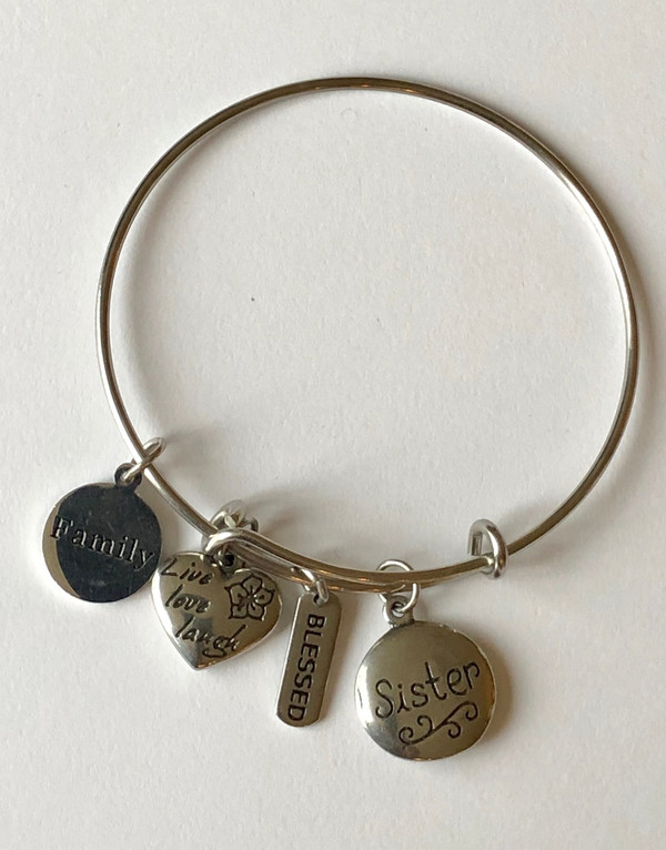 Family, Live Love Laugh, Blessed and Sister Stainless Steel Bangle