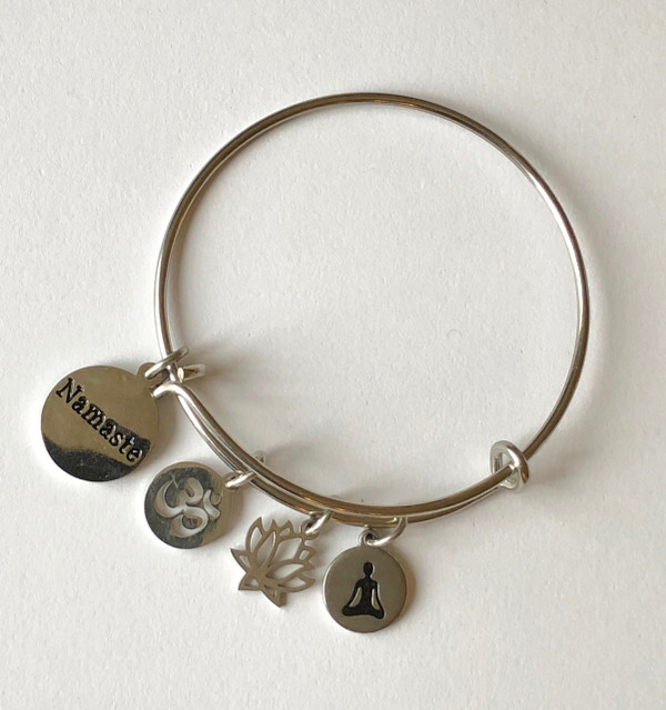 Namaste, Ohm, Lotus and Yoga Stainless Bangle