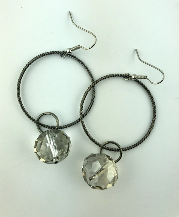 Silver Ring and Crystal Drop earrings