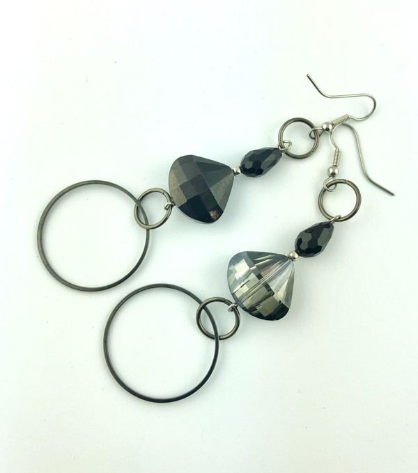 Dark Crystals drop earrings