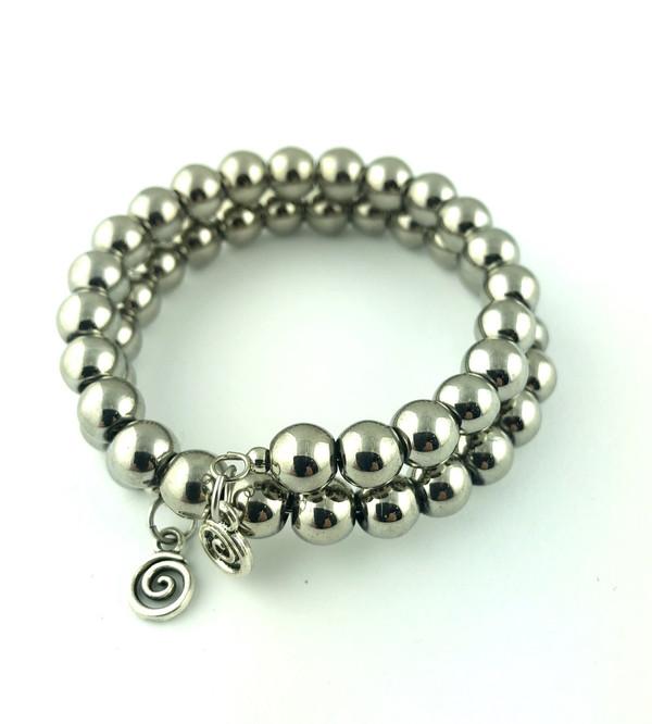 Silver balls wrap bracelet