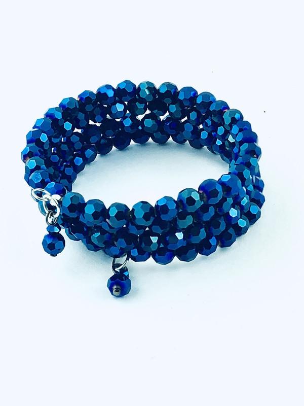 Tiny Blue Crystals wrap bracelet