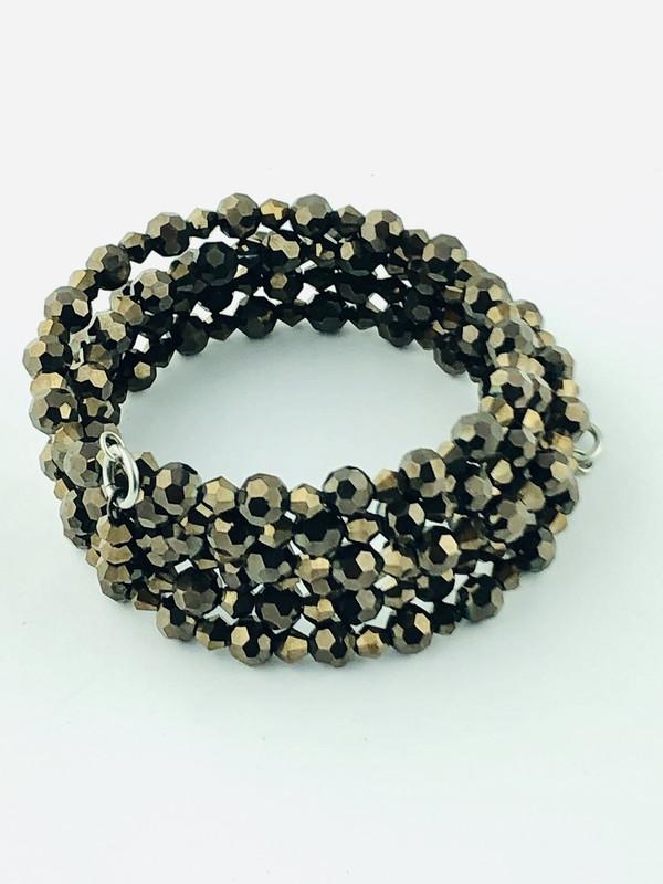 Tiny Brown Crystals wrap bracelet