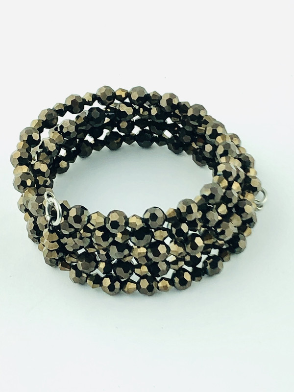 Tiny Brown Crystals wrap bracelet