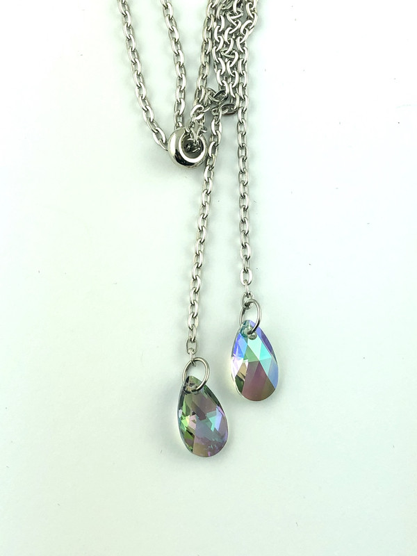 Swarovski Crystal Drops Slider Necklace - Carnival Glass
