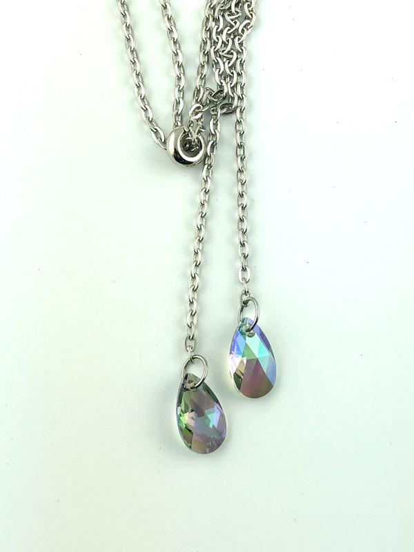Swarovski Crystal Drops Slider Necklace - Carnival Glass