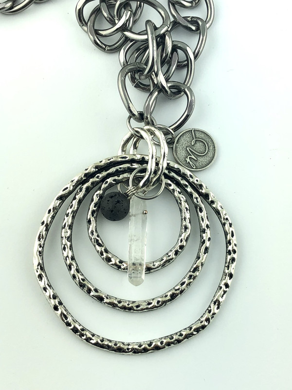 Rings and Crystal Quartz Long Necklace