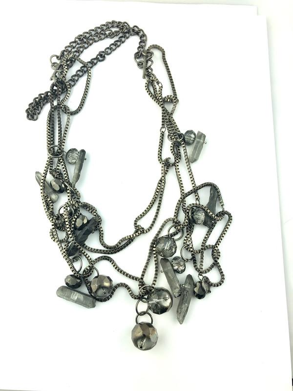 Gun Metal Quartz and Crystals long necklace