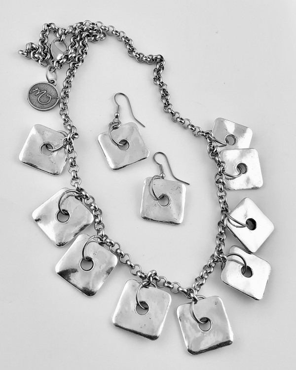 Silver Toned Squares on Stainless Steel Chain Necklace set