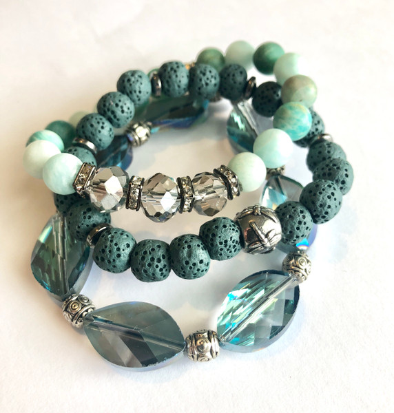 A Trio of Teal Healing Bracelets Combination